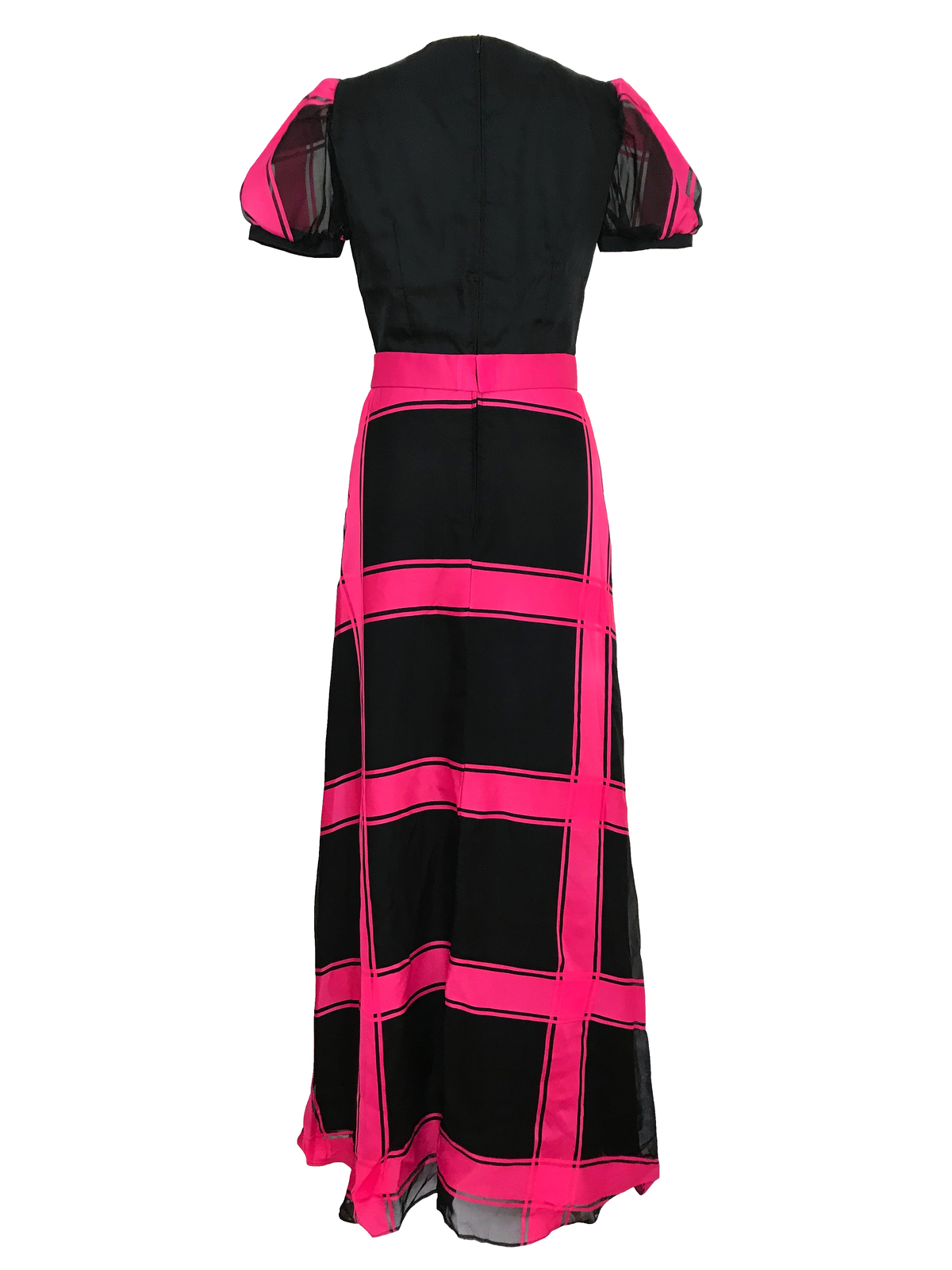 70s Sheer Organza Hot Pink Black Bias Cut Check Stripe Puff Sleeve Maxi Dress