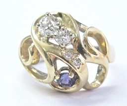 Natural Vintage Old European Cut Diamond & Amethyst Yellow Gold Ring .70... - $1,237.50