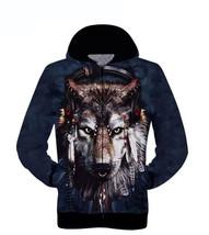 Men's Winter 3D Print Wolf Hooded Sweater Zipper with Warm Men Coat Jacket - $30.68