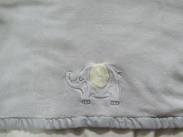 Just Born gray elephant yellow ear baby blanket satin trim fleece back - $14.84