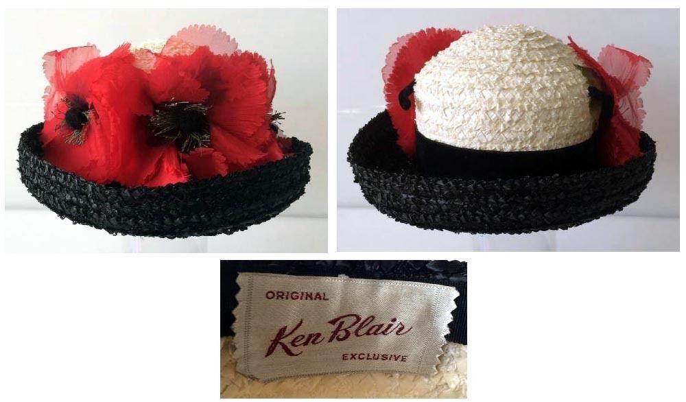 Vintage 1960's Ken Blair Black & White Straw Hat With Silk Poppies K Derby