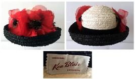 Vintage 1960's Ken Blair Black & White Straw Hat With Silk Poppies K Derby - $92.00