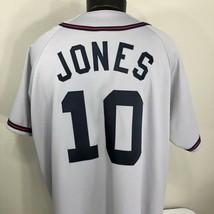 VTG Atlanta Braves Jersey Chipper Jones #10 Sewn Road MLB 90s 2XL XXL Gray - $69.99
