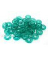 50  8 x 2.5 mm Czech Glass Donut Beads: Teal - $2.57