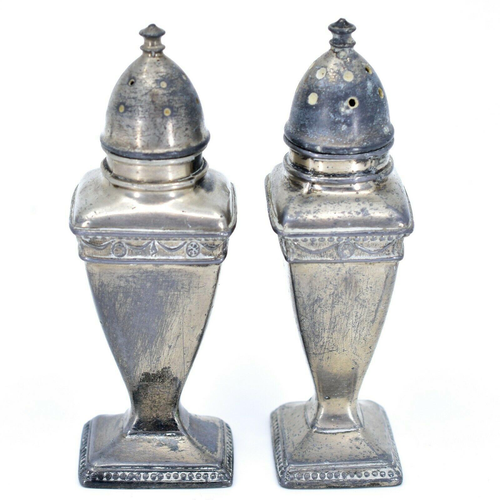 Vintage Silver Salt & Pepper Shaker Set Stamped 1030