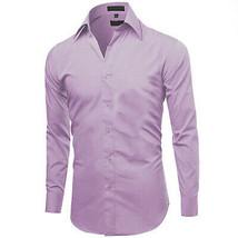 Omega Italy Men's Lilac Button Up Dress Shirt Long Sleeve Regular Fit - M image 2