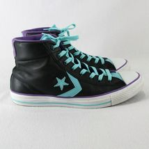 Converse All Star Leather High Top Shoes Mens 9 Womens 11 Black Blue Purple image 5