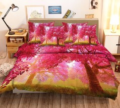 3D Red Trees 021 Bed Pillowcases Quilt Duvet Cover Set Single Queen King Size AU - $90.04+