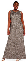 Adrianna Papell Lead Sequin Beaded Halter Gown Formal Dress Plus 16W   $329 - $226.71
