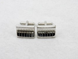 Vintage Cuff Links, Silver Tone Rectangle,White Rhinestones Bullet Back ... - $9.75
