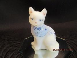 FENTON ART GLASS SNOWBALL-BLUE SWEATER ON OPAL SATIN SITTING CAT FIGURINE M - $45.00