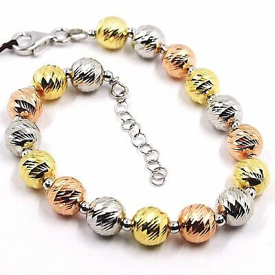 Silver Bracelet 925, Yellow White and Pink, Spheres Faceted, Diameter 8 MM
