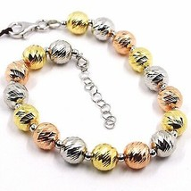 Silver Bracelet 925, Yellow White and Pink, Spheres Faceted, Diameter 8 MM image 1