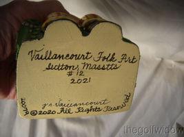 Vaillancourt Folk Art Gold Santa in Seat with Shopping Catalog Signed  image 6