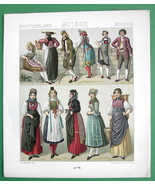 SWITZERLAND Costume of Peasants Married Women Girls - RACINET Color Lith... - $12.15