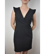 NWT Nicole Miller Studio size 6 Black Cocktail Dress Capped Sleeves LBD - $24.79