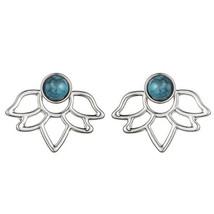 Turquoise Tone Silver Lotus Flower Ear Jacket Earring - Summer Earrings - $12.67