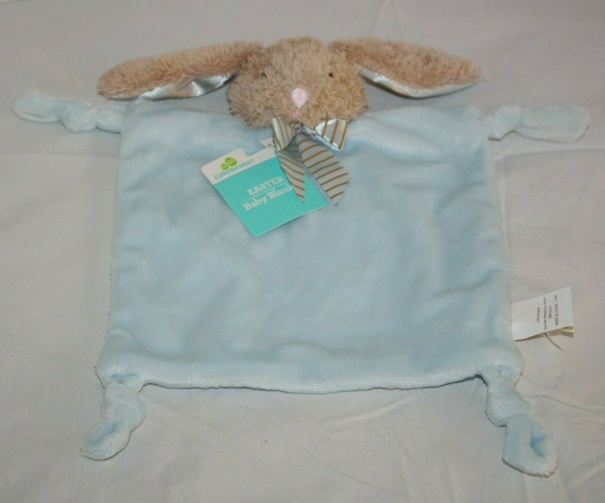 Dan Dee Bunny Rabbit Security Baby Blanket Blue Plush Knotted Corners Soft Toy - $28.03
