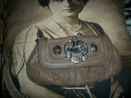 GUESS Sweet Dark Taupe Faux Leather  Clutch Bag - $11.88