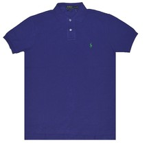 Men's L Polo Ralph Lauren CUSTOM Fit Mesh Polo Shirt Short Sleeve PURPLE - $37.39