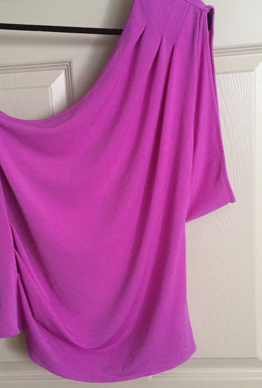 Express Women Top Blouse Size Large Pink One Shoulder One Sleeve Trendy New image 8