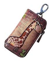 Cartoon Women's Key Bag Printing Graffiti Leather Zipper Key Case, Giraffe