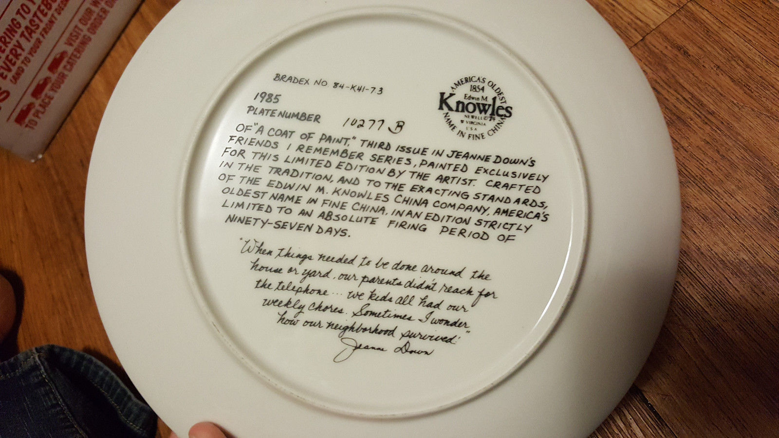"JEANNE DOWN COLLECTORS PLATE ""A COAT OF PAINT""  KNOWLES 1985"
