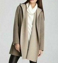 Vince $745 Hooded Open Front Double Face Heather Maple Wool Coat S - $121.55