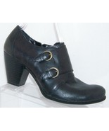B.O.C. Born Concept 'Comet' black buckle leather side zip bootie heels 8.5 - $39.88