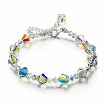 Aurora Borealis Bracelet Made with Swarovski Round Crystals 18K White Gold - $12.34