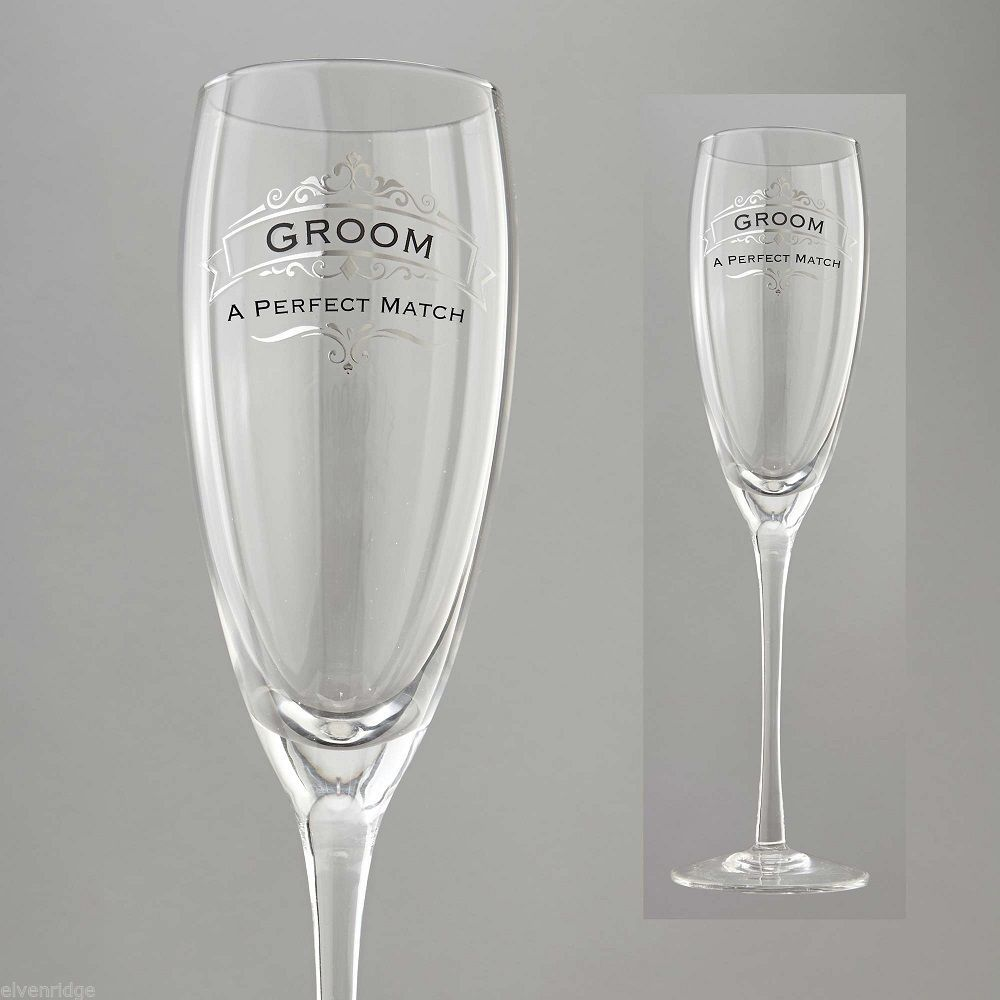 Groom  A Perfect Match Toasting Glass Insignia Brand in Gift Box