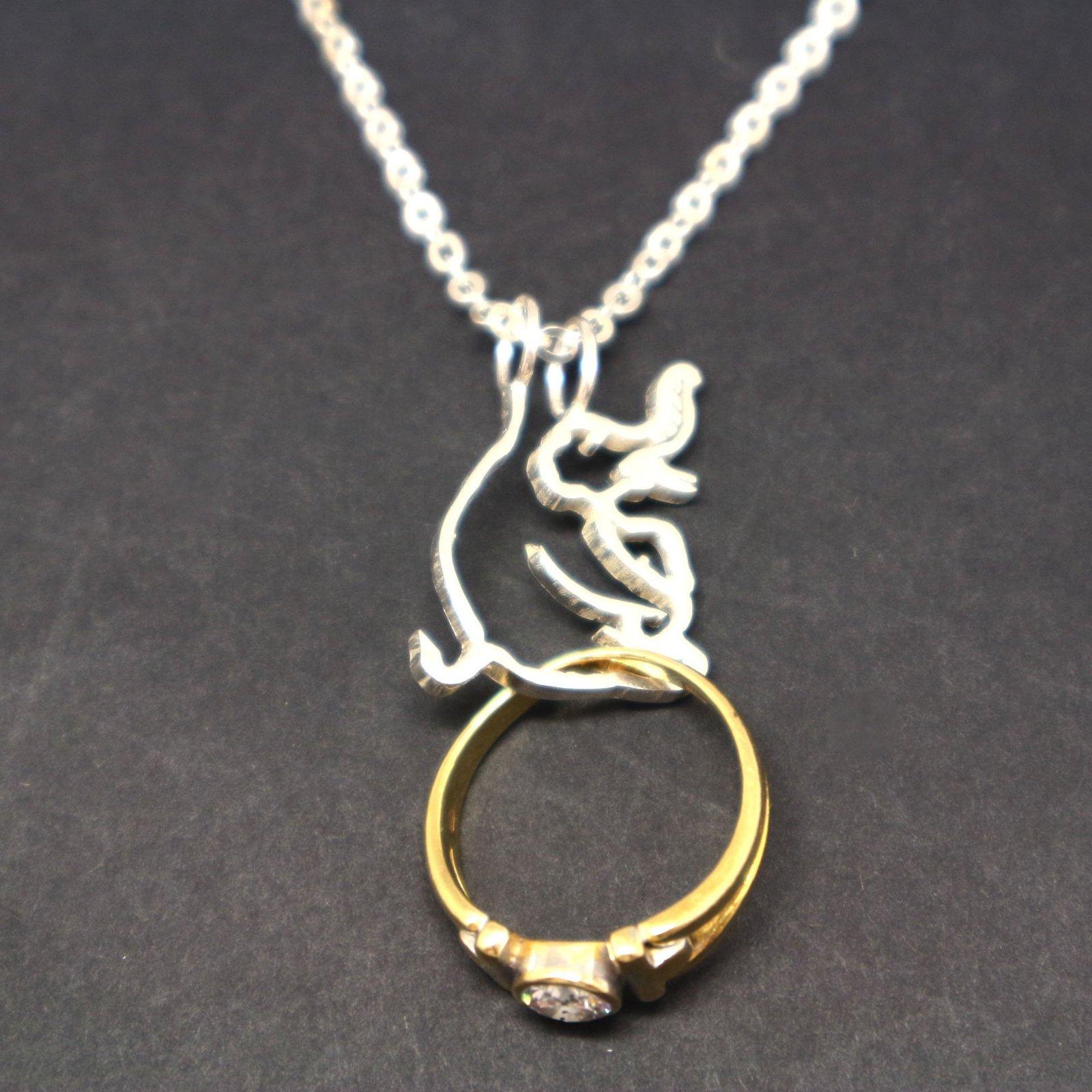 Silver Elephant Ring Holder Necklace Pendant image 6