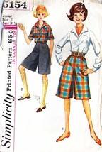 1960's Misses' CULOTTES & BLOUSE Simplicity #5154-s Size 11 - $8.99