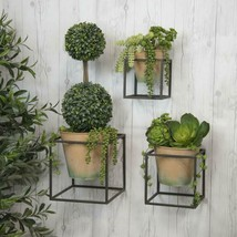 Set of 3 Metal Wall Planters with pots Assorted Sized Plant Holders Gard... - $89.95