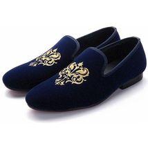 Handmade Men's Navy Blue Slip Ons Embroidered Loafer Velvet Shoes image 3