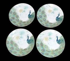 4 LAKSHMI Turquoise Teal & Gold Peacock & Feathers Salad Plates 222 Fifth NIB - $42.99
