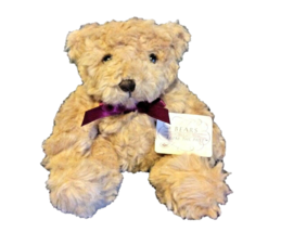 Russ Berrie Teddy Bear Plush Beige Tan Red Ribbon Kids Furry Animal Stuffed Toy  - $7.91