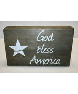 God Bless America Small Wooden Tabletop Sign Made in USA - $9.89
