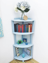 Handmade wooden corner shelf, four-tier corner shelving in pastel blue - $77.00