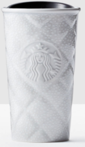 Starbucks 2016 Quilted Silver White Snow Siren Double Wall Ceramic Tumbl... - $31.95
