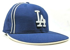 New Era Los Angeles Dodgers 59Fifty MLB Fitted Hat 7-3/4 Stripe Flat Bill, RARE - £13.21 GBP