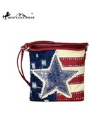 Montana West American Pride Star pu leather & denim canvas Crossbody Bag - $52.99