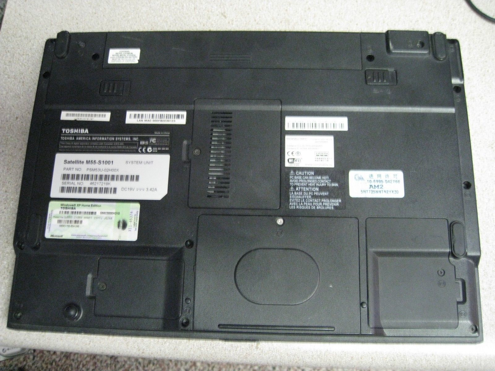 Toshiba Satellite M55-S1001 for parts