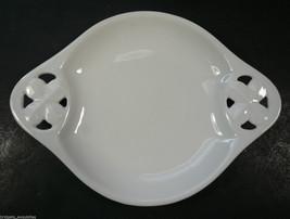 RS Germany White Porcelain Dish Flower Handles Blanc de Chine - $11.99
