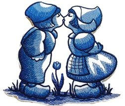 Custom and Unique Shades Of Blue[ Delft Blue Kissing Kids ] Embroidered ... - $9.89