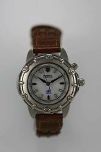 Fossil Watch Womens White Stainless Steel Silver Leather Brown 50m Light Quartz - £25.67 GBP