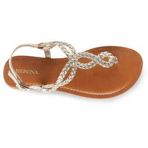 New Women's Merona Jana Quarter Strap Flat Strappy Sandals in Gold NWT image 3
