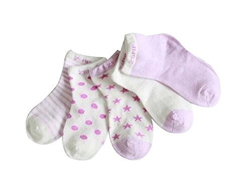 Five Pairs Summer Thin Cotton Comfortable PURPLE Baby Socks