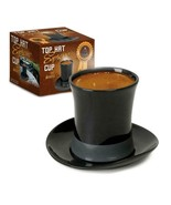 Top Hat Espresso Cup and Saucer Black Ceramic Novelty Gift New in Box Co... - $9.95
