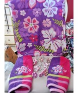 bright purple,pink, green hippie floral decorative shower curtain, towel... - $25.50
